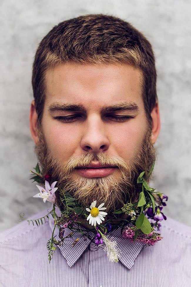 """Full blown floral facial hair"""