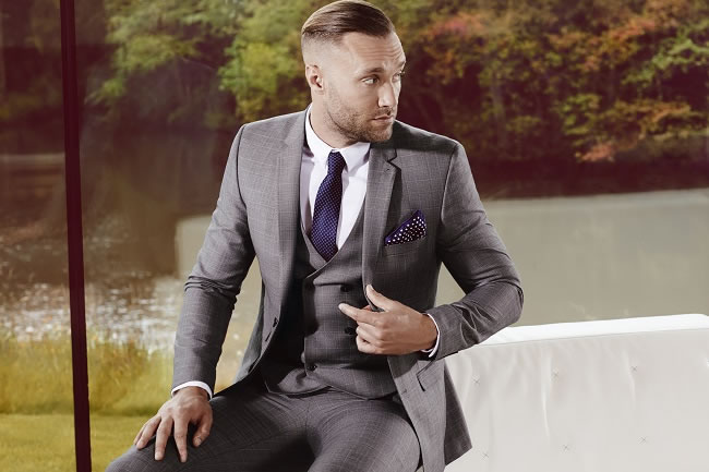 Jacket £69 / Trousers £30 / Waistcoat £35 / Tailored Navy Geo Dot Print with Clip £10 / Printed Geo Pocket Square £6