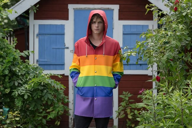 Stutterheim Vladimir rainbow rubber raincoat