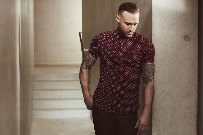 Burgandy Dotty Shirt £18