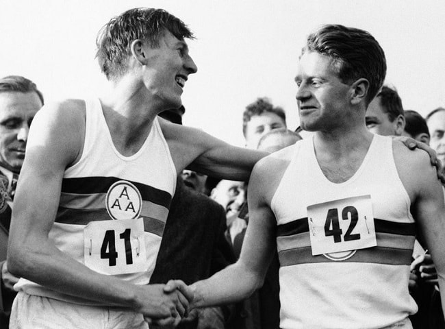 Sir Christopher Chataway alongside Roger Bannister